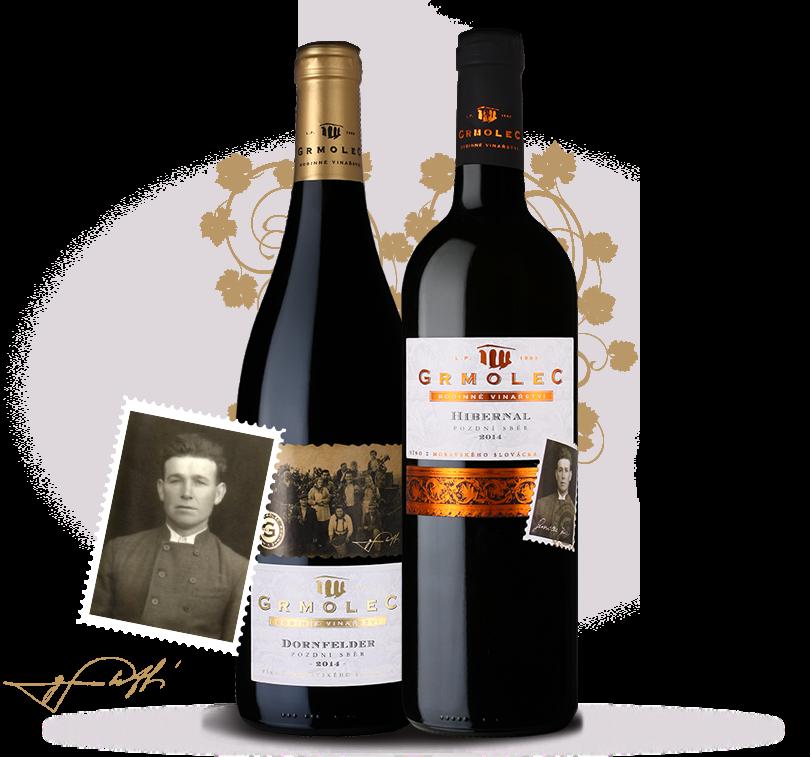 Ukázka našeho vína s fotografií zakladatele rodinného vinařství